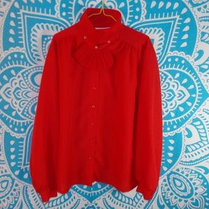 Vintage Blouse with Neck Ruffle Size 18 Red Button